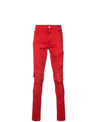Jean skinny déchiré rouge Amiri