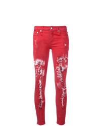 Jean skinny déchiré rouge R13