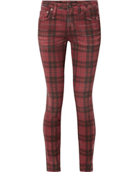 Jean skinny écossais bordeaux R13