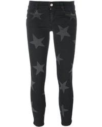 Jean skinny en coton à étoiles noir Stella McCartney