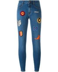 Jean skinny en coton brodé bleu Stella McCartney