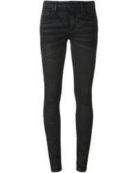 Jean skinny en coton brodé noir Off-White