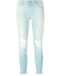 Jean skinny en coton déchiré bleu clair 7 For All Mankind