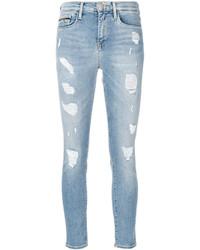 Jean skinny en coton déchiré bleu clair CK Calvin Klein