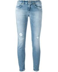 Jean skinny en coton déchiré bleu clair Dondup