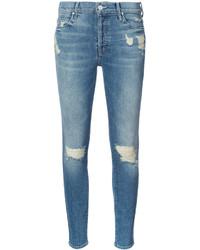Jean skinny en coton déchiré bleu clair Mother