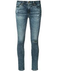 Jean skinny en coton déchiré bleu AG Jeans