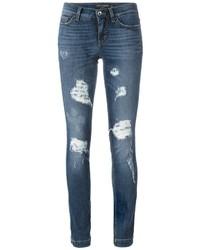 Jean skinny en coton déchiré bleu Dolce & Gabbana