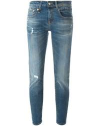 Jean skinny en coton déchiré bleu R 13