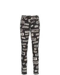 Jean skinny en coton imprimé noir Moschino