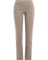 Jean skinny en coton marron clair