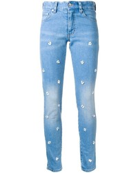 Jean skinny en coton orné bleu clair Muveil