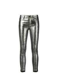Jean skinny en cuir argenté RtA