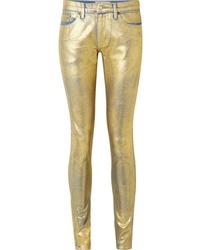 Jean skinny en cuir doré TRE by Natalie Ratabesi