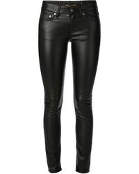 Jean skinny en cuir noir Saint Laurent
