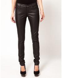 Jean skinny en cuir noir Tripp