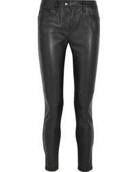 Jean skinny en cuir noir Versace