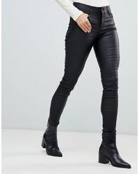 Jean skinny en cuir noir Vila