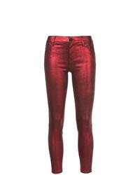 Jean skinny en cuir rouge