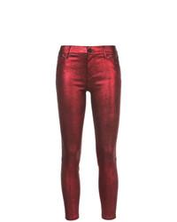 Jean skinny en cuir rouge RtA