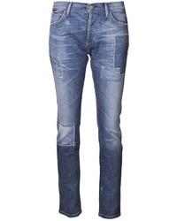 Jean skinny géométrique bleu