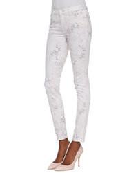 Jean skinny imprimé blanc