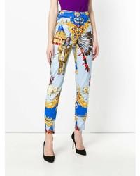 Jean skinny imprimé bleu clair Versace