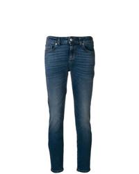Jean skinny imprimé bleu Alexander McQueen