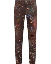 Jean skinny imprimé bordeaux Dolce & Gabbana