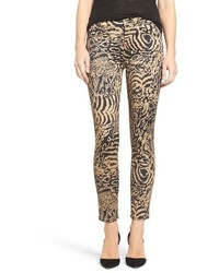 Jean skinny imprimé léopard marron clair