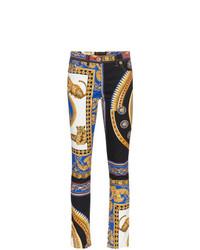 Jean skinny imprimé multicolore Versace