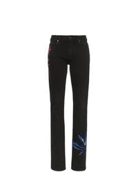 Jean skinny imprimé tie-dye noir