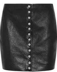 Jupe boutonnée en cuir noire