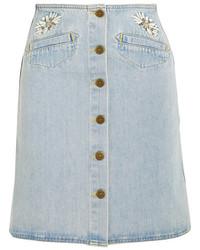 Jupe boutonnée en denim bleu clair MiH Jeans