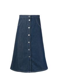 Jupe boutonnée en denim bleu marine MiH Jeans
