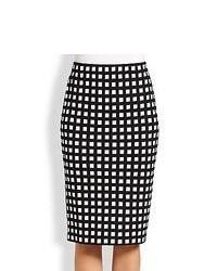 Jupe crayon à carreaux blanche et noire
