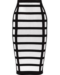Jupe crayon à carreaux blanche et noire Balmain