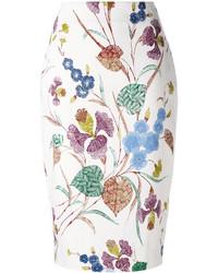 Jupe crayon à fleurs blanche Diane von Furstenberg