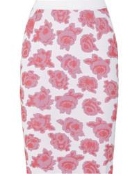 Jupe crayon à fleurs blanche Nina Ricci