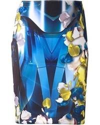 Jupe crayon à fleurs bleu marine