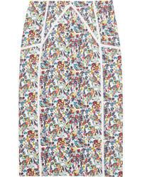 Jupe crayon à fleurs multicolore Versace