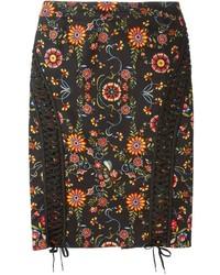 Jupe crayon à fleurs noire Christian Dior