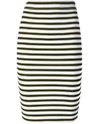 Jupe crayon à rayures horizontales noire et blanche A.L.C.