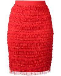 Jupe crayon à volants rouge Givenchy