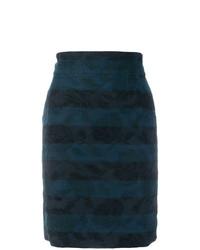 Jupe crayon brodée bleu marine Dolce & Gabbana Vintage