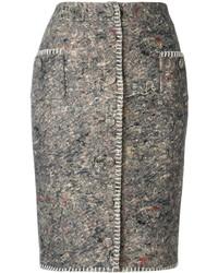 Jupe crayon brodée gris foncé Moschino