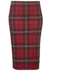 Jupe crayon écossaise rouge