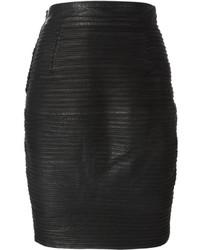 Jupe crayon en cuir noire Versace