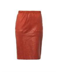 Jupe crayon en cuir rouge