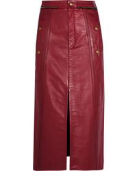 Jupe crayon en cuir rouge Chloé